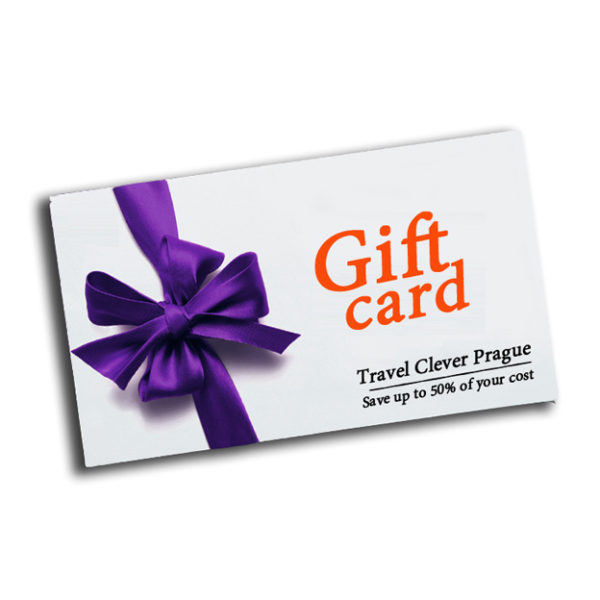 Gift card for ebook Travel Clever Prague - Save up to 50% of your cost ( Front side )
