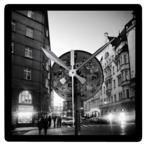 Travel Clever Prague - wall clock sign