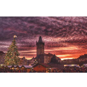 Souvenirs from Prague Red sky over the Old Town Square Photo 1